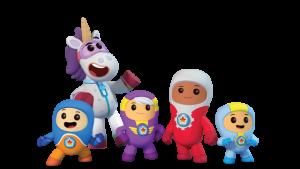 Go Jetters characters - Kyan, Lars, Foz, Xuli, and Ubercorn